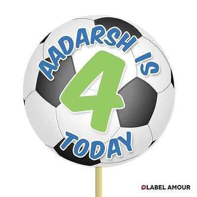 20 Personalisiert Tasse Topper Geburtstag Fußball Cupcake Dekoration 005