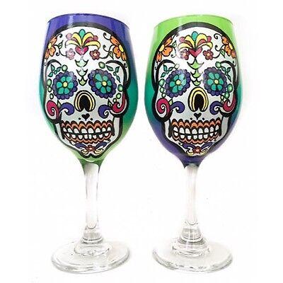 ORIGINAL Rebecca Suriano Hand Painted Sugar Skull Day of the Dead Wine Glasses - Day Of The Dead Wine Glasses