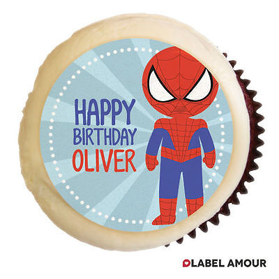 PERSONALISED Birthday Party Favour Cupcake Edible Cake Toppers - Superhero 5 ()