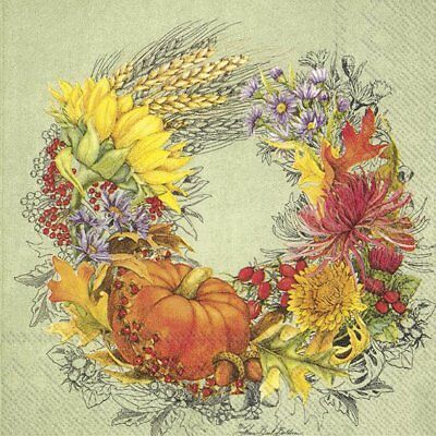 BEAUTIFUL HARVEST green autumn wreath paper 33cm square 3 ply napkins 20 pack
