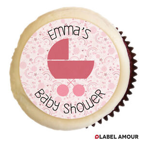 ❤ 24 PERSONALISED Cup Cake Topper | Baby Shower | Choice of 14 Colours