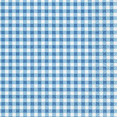 20 Servietten kariert blau - New Vichy kariert - New Vichy blue -  karo