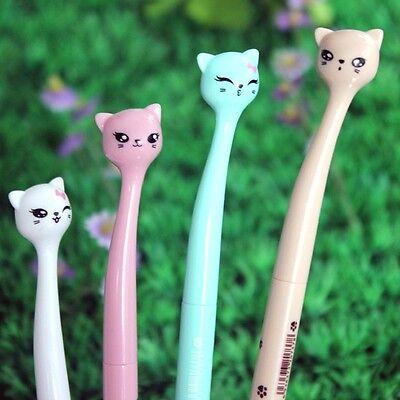 4pcs Cute Kawaii Fun black 0.5mm Gel ink Roller Ball Point Pen fine Cat Korean (Fun Pens)