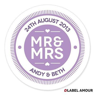 40 Personalised Wedding Sticker Seals Labels | Mr and Mrs | 35 Colours