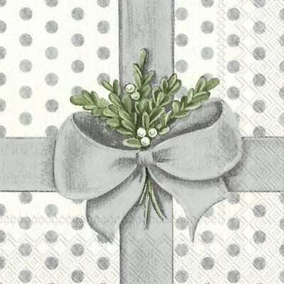 A PRESENT FOR YOU silver Christmas paper 33cm square 3 ply napkins 20 pack