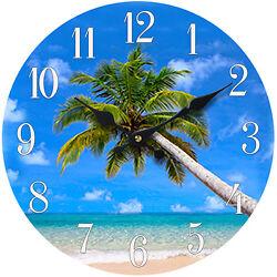 Glass Wall Clock Palm Tree 13X 13 Home Wall Decor Coastal Nautical Beach New