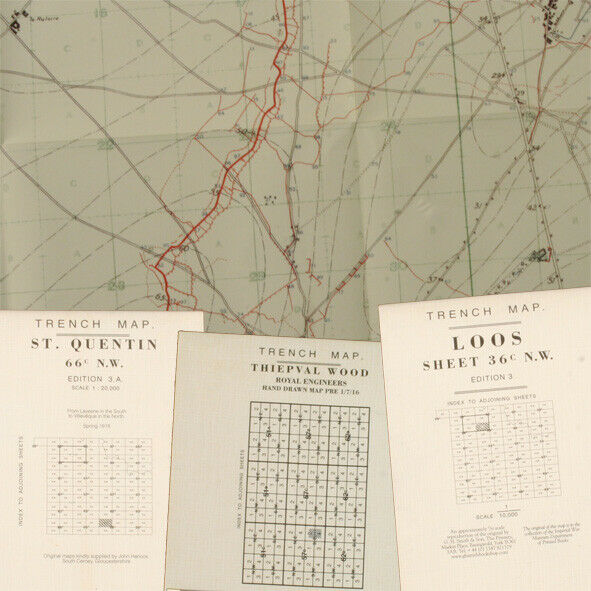 Reprint British WW1 Pack 02 WW1 Trench Maps, ST. Quentin, Loos, Thiepval Wood BO