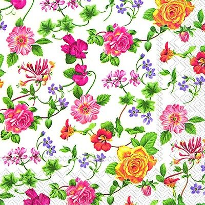 FLOWER POTPOURRI tiny floral flowers paper lunch napkins new 20 in pack