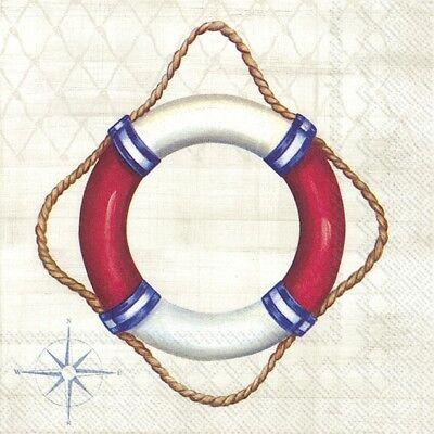 4 Servietten ~ Willkommen an Bord Rettungsring Maritim Meer Schiff  ()