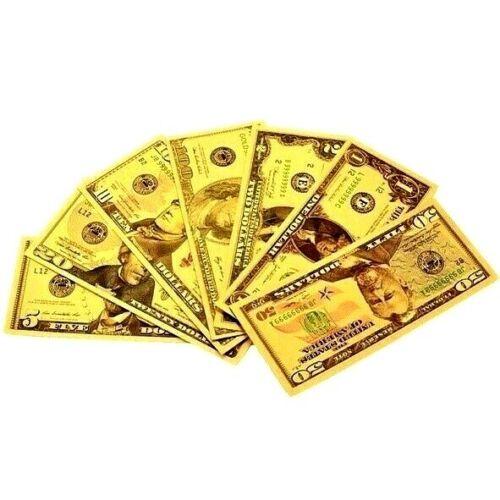 Full Set - Gold Foiled Novelty Federal Reserve Notes - $1 $2 $5 $10 $20 $50 $100