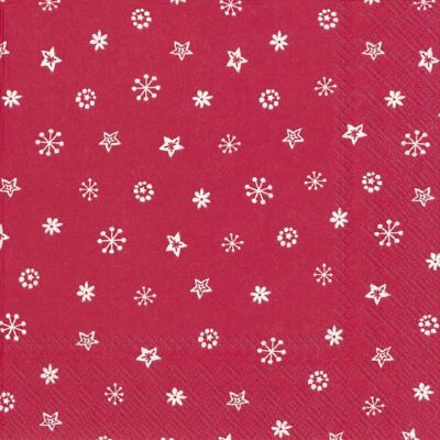 LITTLE JOY red Christmas stars snowflakes paper 33cm square 3 ply napkins 20 pk