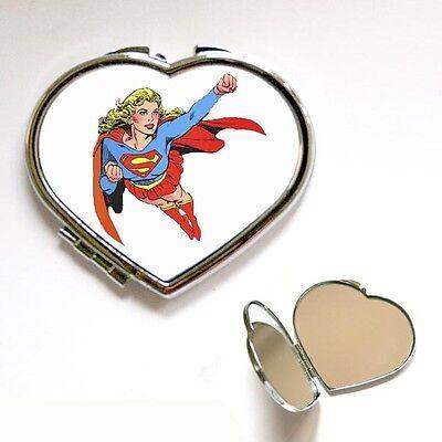 New Super Woman comic Heart / Square Compact Makeup Handbag Pocket Mirror - Superwoman Makeup
