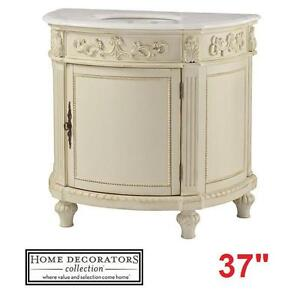 "NEW* HDC CHELSEA 37"" VANITY COMBO - 116386312 - HOME DECORATORS COLLECTION ANTIQUE CREAM CABINET MARBLE TOP WHITE BAT..."