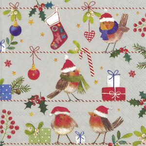 MERRY LITTLE CHRISTMAS ROBIN linen Paper Table Lunch Napkins 33cm sq 20 pack