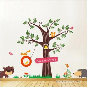 mega pack woodland animals tree nursery wall art decal wall stickers pd313 ebay. Black Bedroom Furniture Sets. Home Design Ideas
