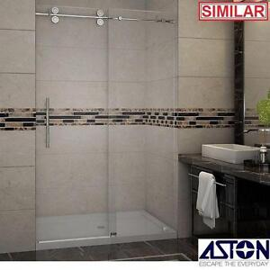 "NEW ASTON LANGHAM 48"" SHOWER KIT - 124118599 - FRAMELESS 48"" x 77.5"" CHROME CLEAR GLASS SHOWERS STALLS ENCLOSURE ENCL..."