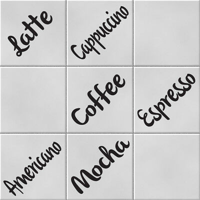 Home Decoration - Coffee Words Vinyl Wall Tile Transfer Stickers Decals Kitchen Home Decor