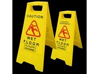 x 2 Professional CAUTION Wet Floor Cleaning Safety Sign Hazard WARNING