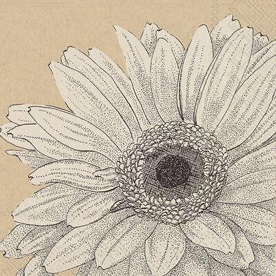 Sue black sunflower floral paper table napkins luxury 20 pack 33 cm sq