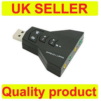 USB 2.0 Tarjeta de Sonido Adaptador 7.1 Canal, 3D Portátil PC Externo