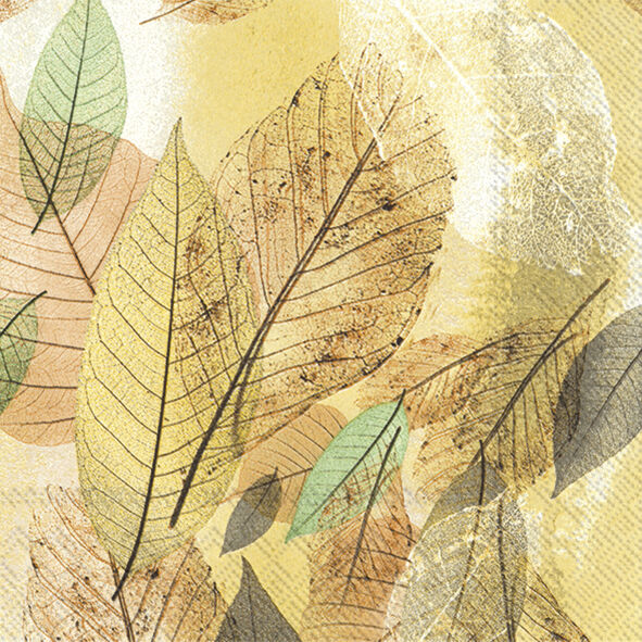 Pack of 20 Paper Napkins 3-ply Natural Leaves Beige 33 x 33cm