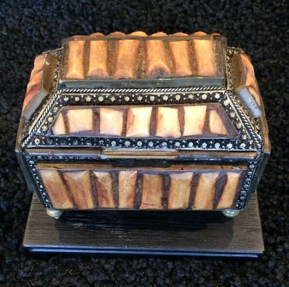 Antique Footed Jewelry | Desk Trinket Box - hand-crafted, sarcophagus shaped