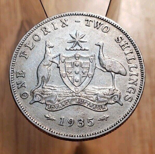 1935 AUSTRALIA King George V One Florin World Silver Coin--High Grade