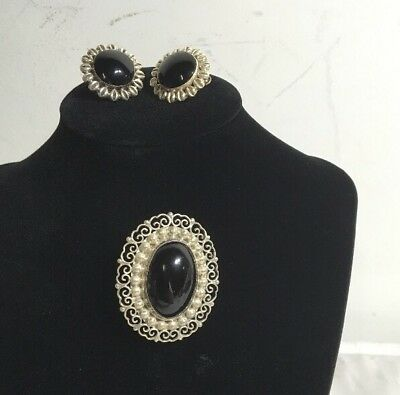 - Vintage Sterling Silver Pin Brooch And Earrings Black Stone Marked DF