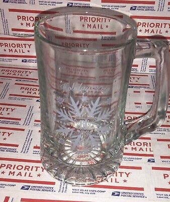 Bjs Restaurant Brewhouse 2012 Holiday Glass Beer Mugs Etched Snowflake  15