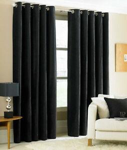 TWO-HEAVY-THICK-panels-FOAM-BLACKOUT-BLACK-grommet-window-curtain-LINED