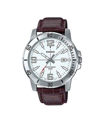 Casio MTP-VD01L-7B Men's Brown Leather Watch 50M WR White Dial