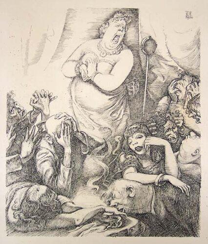 OTHMAR PETER HARTMANN Signed 1950 Original Ink Drawing - LISTED