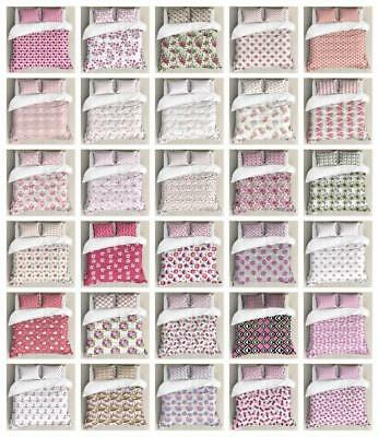 Feminine Pink Duvet Cover Set Twin Queen King Sizes with Pil