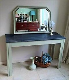 lovely hall table and mirror - hand painted