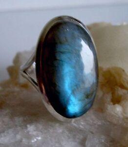 Ring mit Labradorit, 925er Silber, Gr.19,1