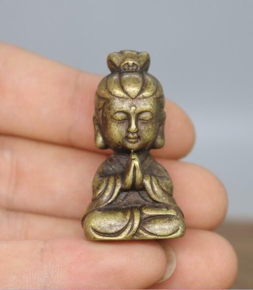 Collection archaize brass lotus Guanyin bodhisattva small statue