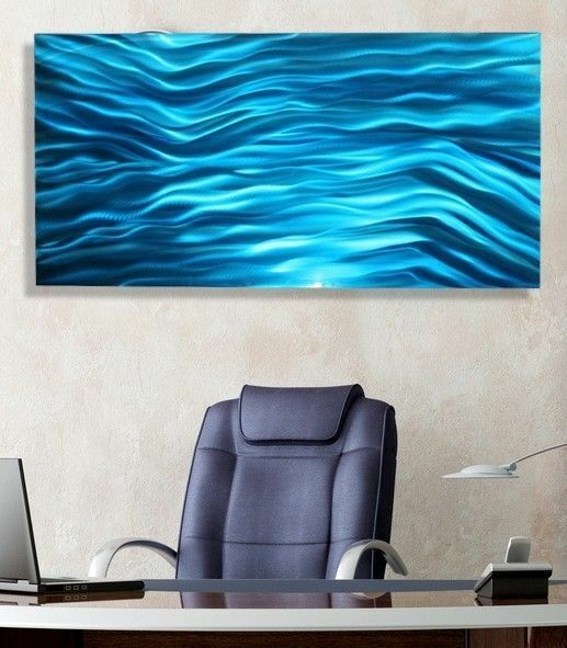 Statements2000 3D Metal Wall Mirror Art Abstract Blue Painting Decor Jon Allen