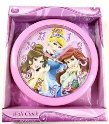 DISNEY PRINCESS 10 WALL CLOCK PINK HANGING DECOR KIDS CINDERELLA ARIEL BELLE