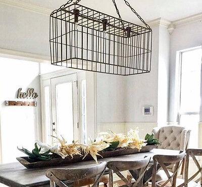 Large Pendant Lighting Fixture - Large Metal Basket Pendant Light Fixture Industrial Rustic Metal Farmhouse Decor