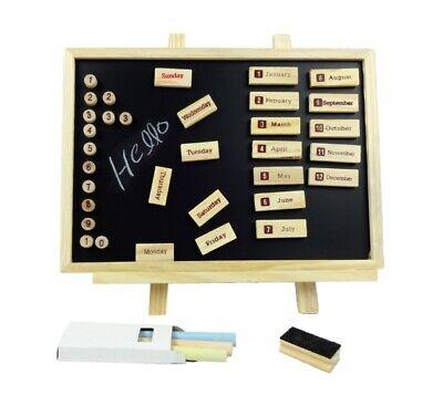 Magnetico IN Legno Organiser Nero Board Lavagna Con Calendario