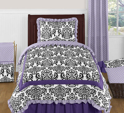 Sweet Jojo Designs Lavender Black and White Damask Girls Teens Twin Bedding Set ()