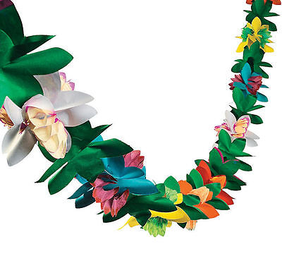 2 Tropical Flower Tissue Garlands Hawaiian Luau Wedding Party Decorations Tiki - Tiki Party