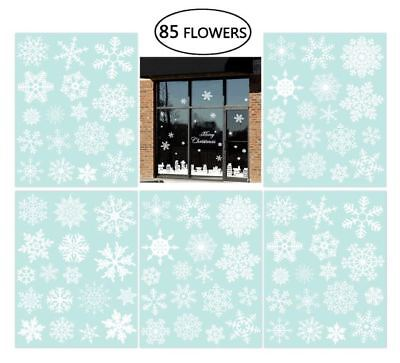 85 Snowflake Window Clings Christmas Window Decorations 34 Different Snowflakes  - Snowflake Window Clings