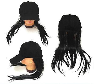 NOVELTY BASEBALL HAT WITH LONG BLACK HAIR costume dressup ball cap mens women](Costumes For Men With Long Hair)