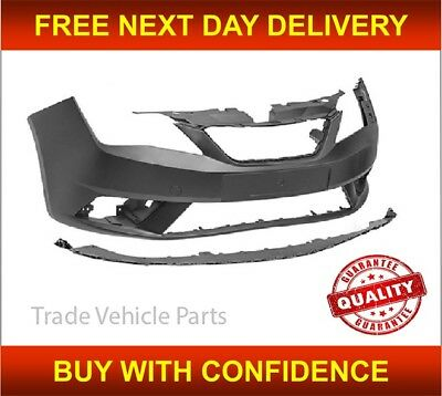 Seat Ibiza 2012-2015 Front Bumper Primed With Spoiler No Sensor / Washer Holes