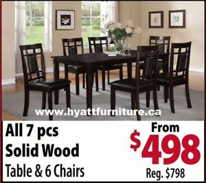 Brand new 7 pcs All Wood  Dinette Set only $498