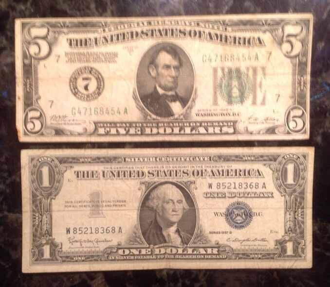 1928 A $5 Federal Reserve Note - Numerical 7  + 1957 B $1 Silver Certificate