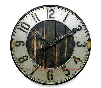 Large Wall Clock Industrial Rustic Loft Urban Punched Metal Wood Shop Garage Art