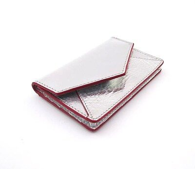 ILI Leather Envelope Business Card or Credit Card Case Holder Metallic Silver