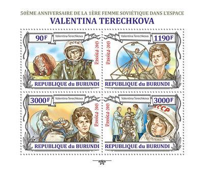 Valentina Tereshkova First Woman Cosmonaut Space Stamp Sheet #1 (2013 Burundi)